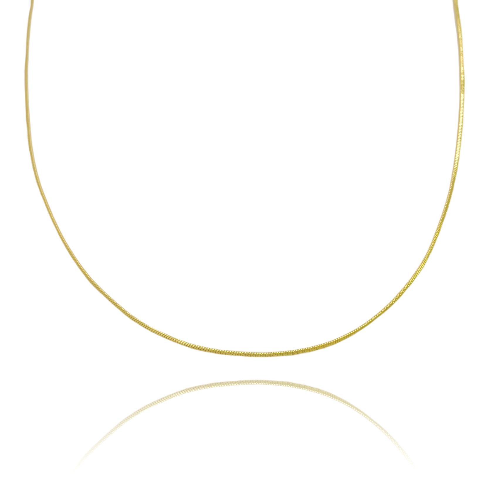 Corrente Rabo De Rato Quadrada 1,2mm 60cm (Fecho Tradicional TAG) (Banho Ouro 24k)