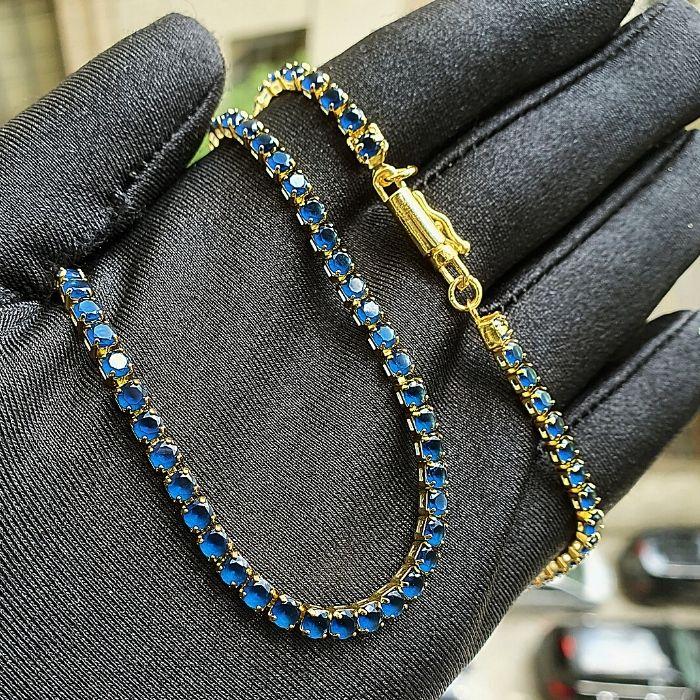 Corrente Riviera Tennis Chain Pedra Zircônia Azul 3mm 50cm 10,9g (Fecho canhão) (Banho Ouro 24k)