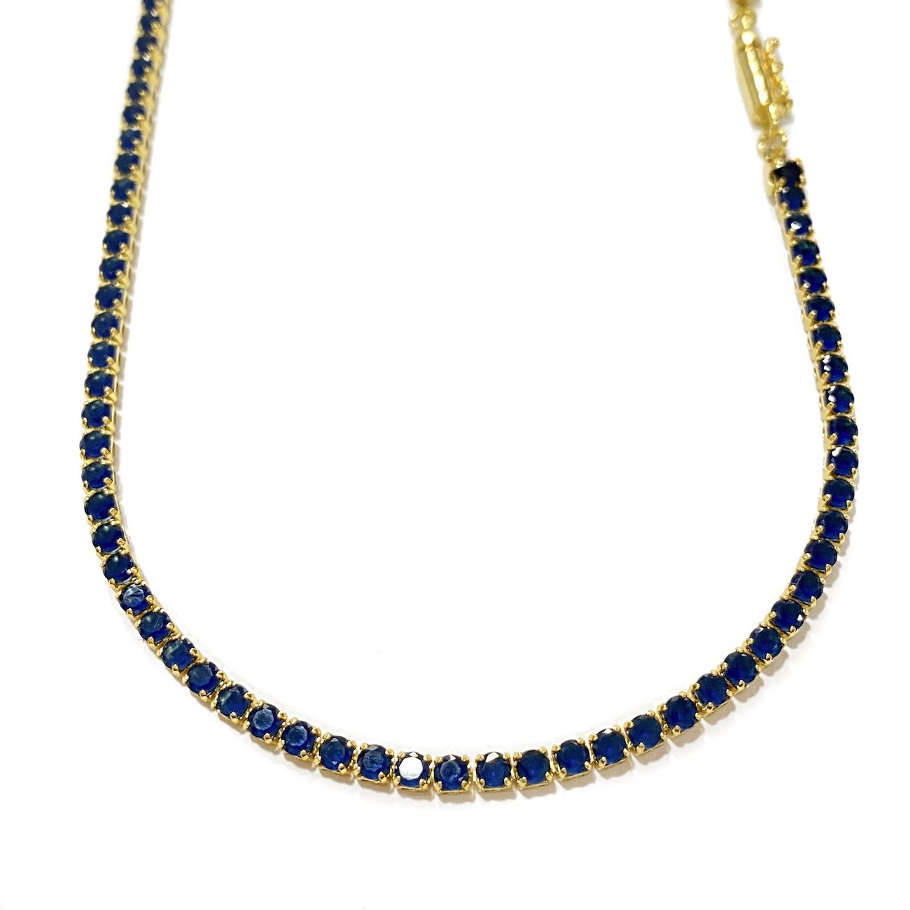 Corrente Riviera Tennis Chain 3mm 60cm 14g (Pedra Zircônia Azul) (Banho Ouro 24k)