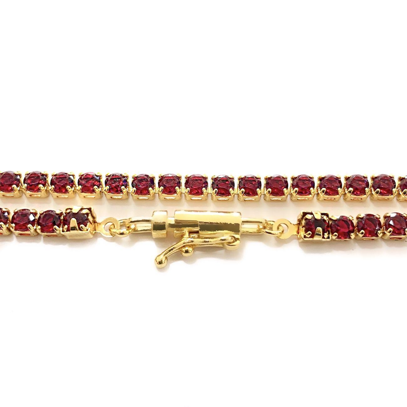 Corrente Riviera Tennis Chain 3mm 60cm 14g (Pedra Zircônia Vermelha) (Banho Ouro 18k)