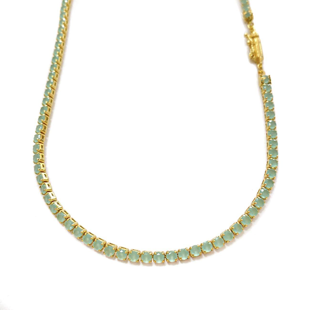 Corrente Riviera Tennis Chain 3mm 60cm 14g (Pedra Zircônia verde) (Banho Ouro 24k)