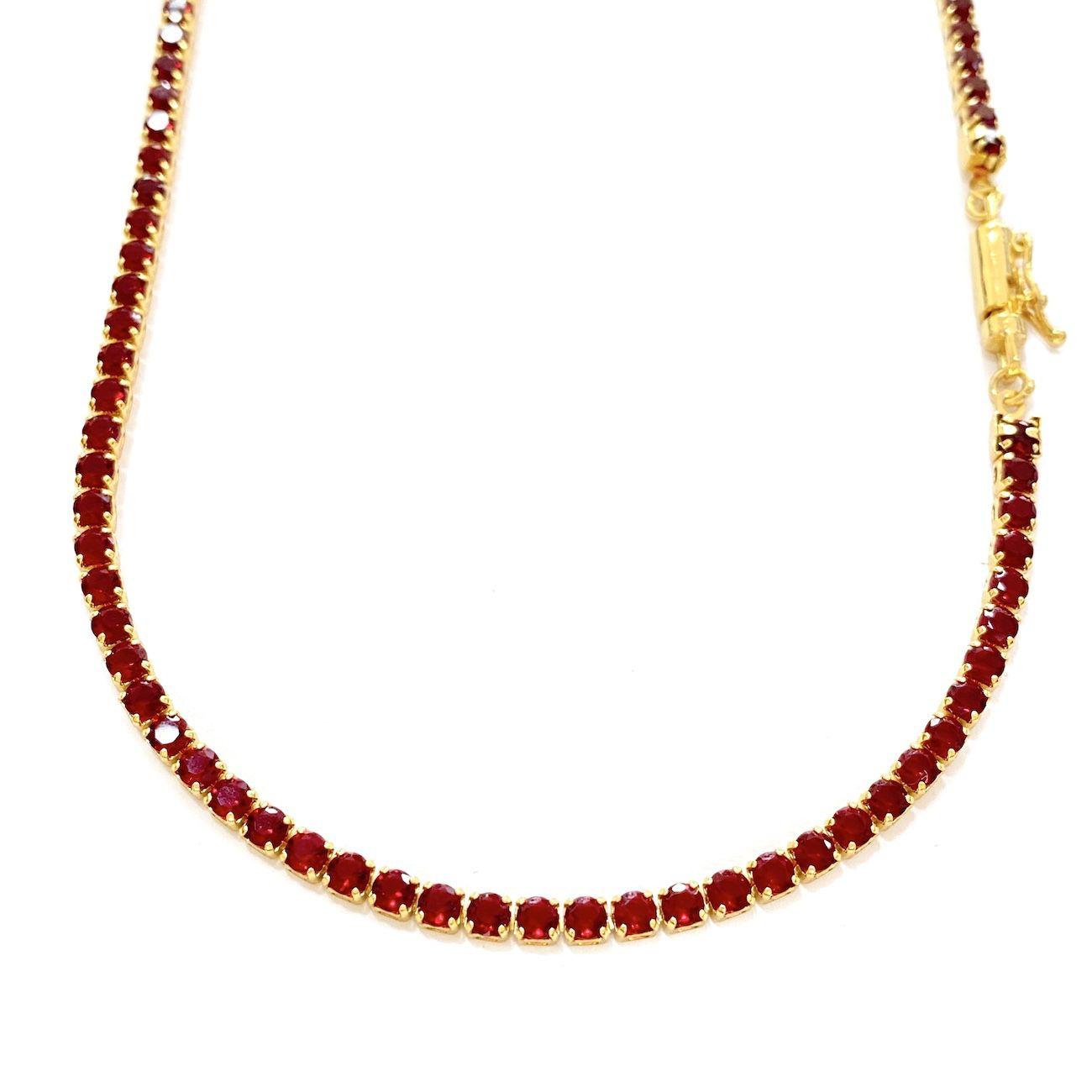 Corrente Riviera Tennis Chain 3mm 70cm 14,8g (Pedra Zircônia Vermelha) (Banho Ouro 18k)