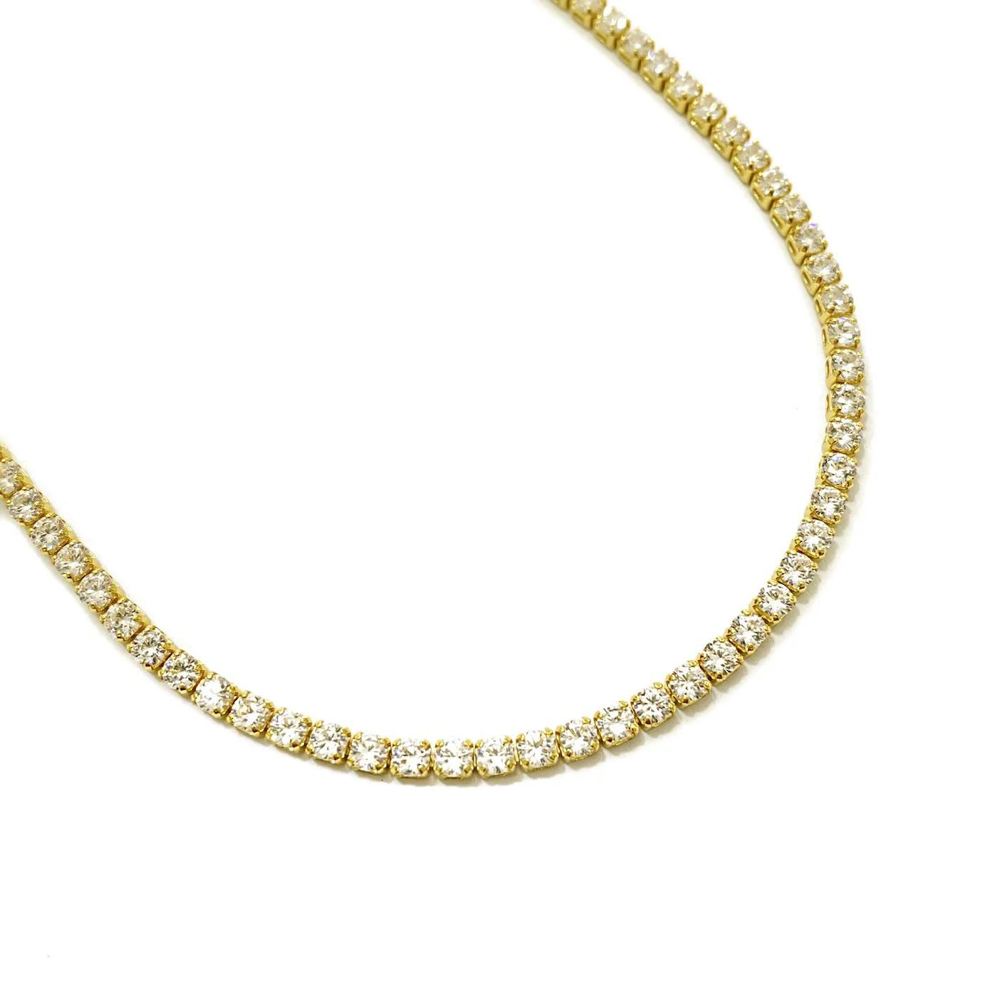 Corrente Riviera Tennis Chain 70cm 3mm 20g (Pedra Zircônia) (Banho Ouro 24k)