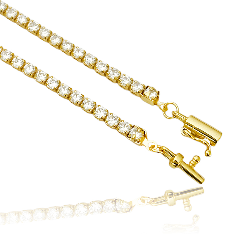 Corrente Riviera Tennis Chain (Pedra Zircônia) 3mm 60cm (17,2g) (Banho Ouro 24k)