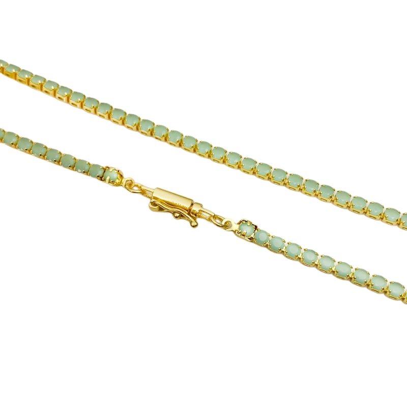 Corrente Riviera Tennis Chain Pedra Zircônia Verde 3mm 50cm (12g) (Fecho Canhão) (Banho Ouro 24k)