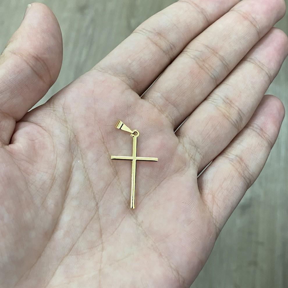 Corrente Veneziana 1,2mm 70cm Fecho Tradiconal + Pingente Crucifixo Agulha Banho De Ouro 24k