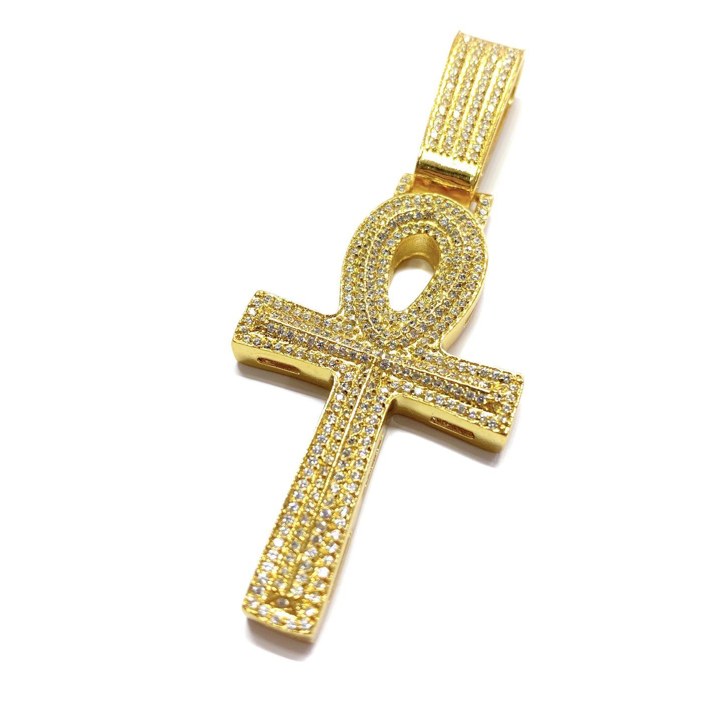 Pingente Crucifixo GDO Cruz Ansata (5,5cmX3,2cm) (13,5g) (Banho Ouro 24k)