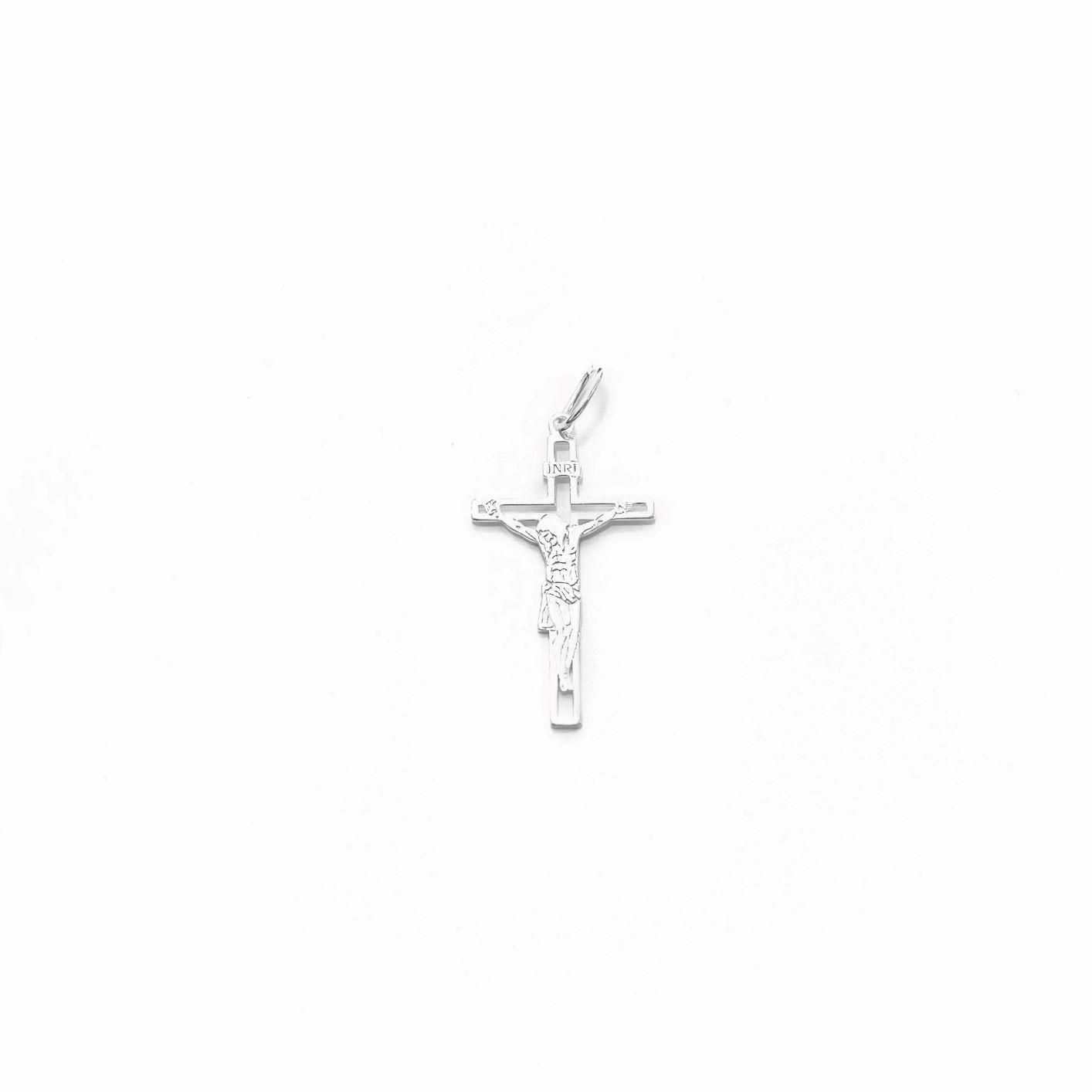 Pingente Crucifixo Jesus Vazado 2,7cm x 1,5cm (Prata 925 Italiana)