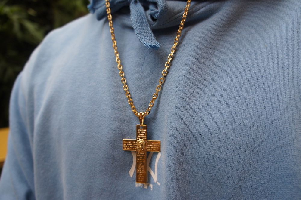 Pingente Crucifixo Pai Nosso 5cm X 3,2cm (Banho Ouro 24k)