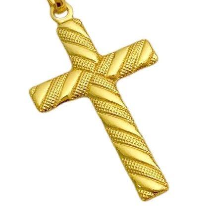 Crucifixo Texturizado (3,0cm x 1,8cm) (Banho Ouro 24k)