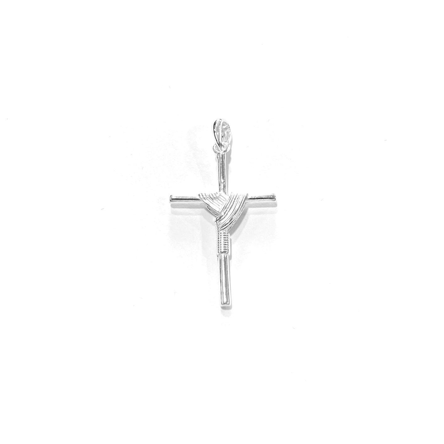 Pingente Crucifixo Trançado 3,2cm x 2,0cm (Prata 925 Italiana)