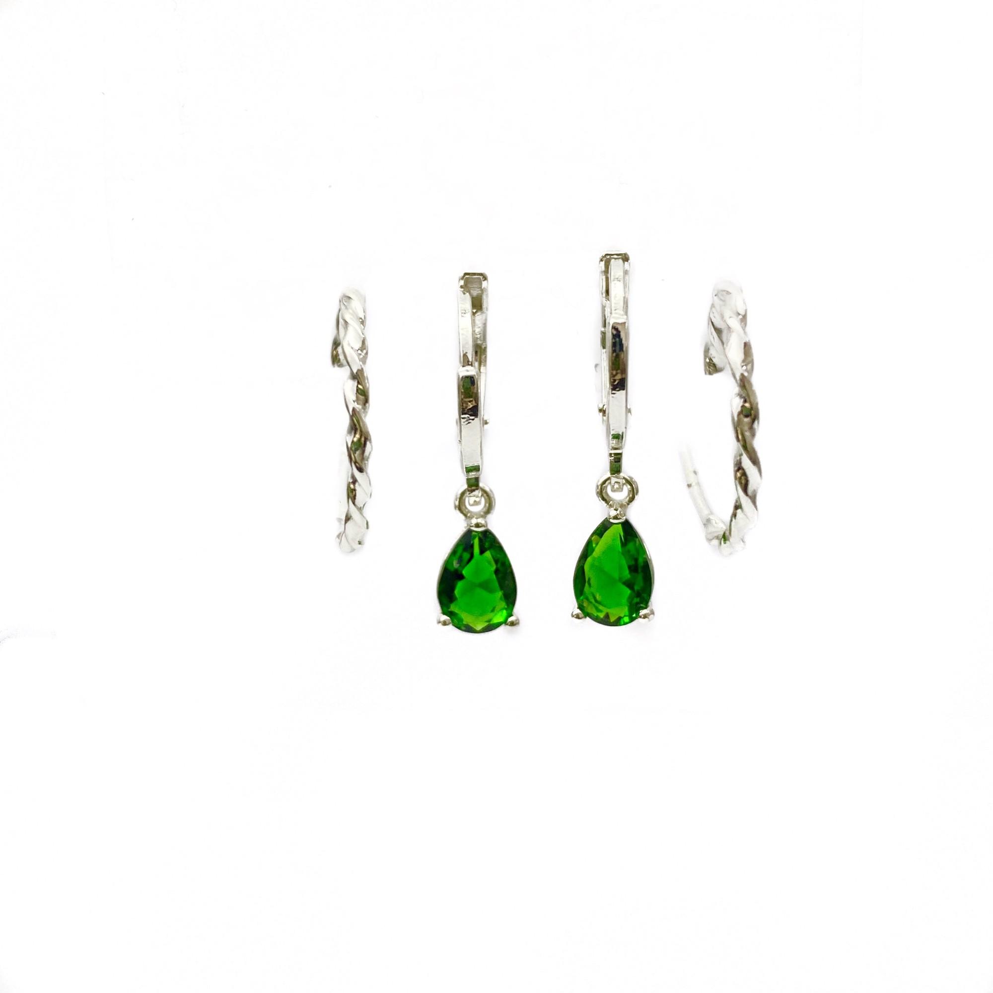 Dupla De Brincos Argola Trançada + Pedra Verde (Banho Prata 925)