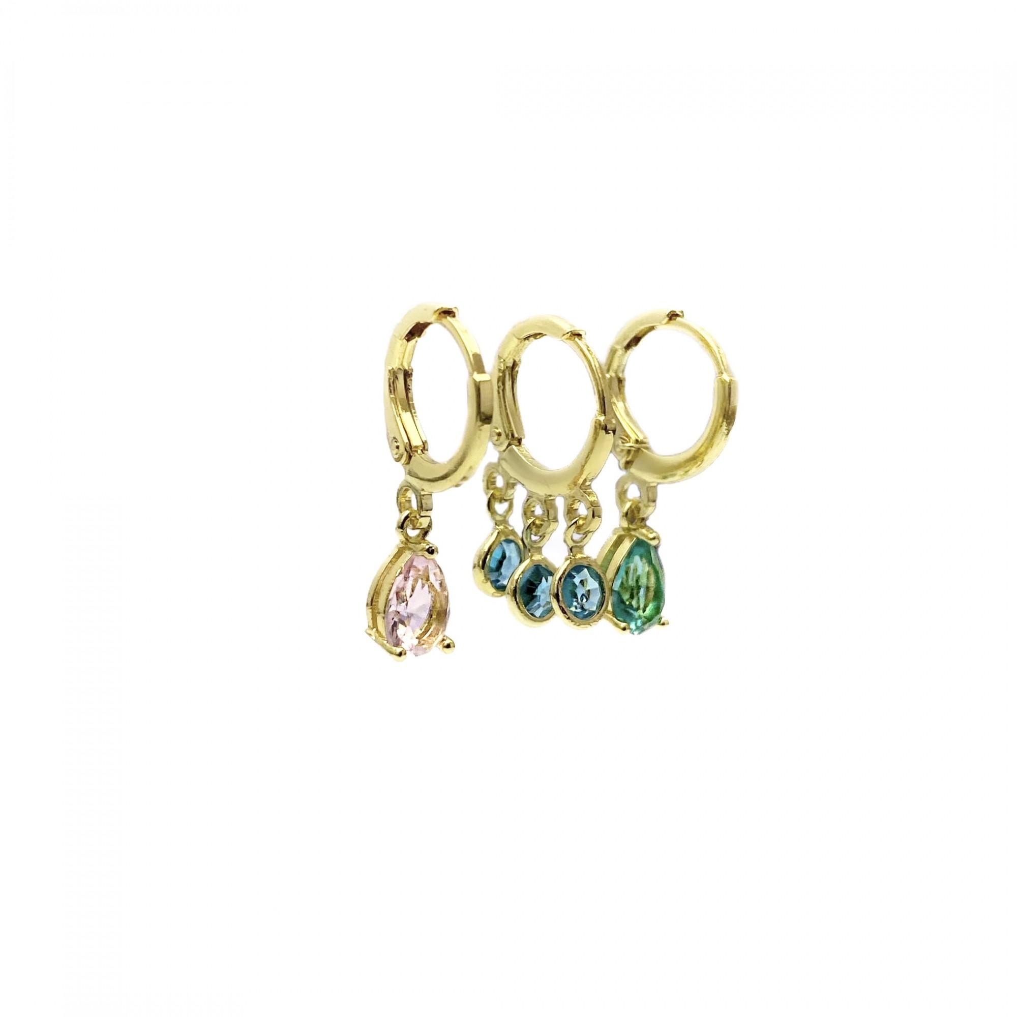 Dupla De Brincos Pedras + Brinco 3 Pedras (Banho Ouro 18k)(3 Pares)
