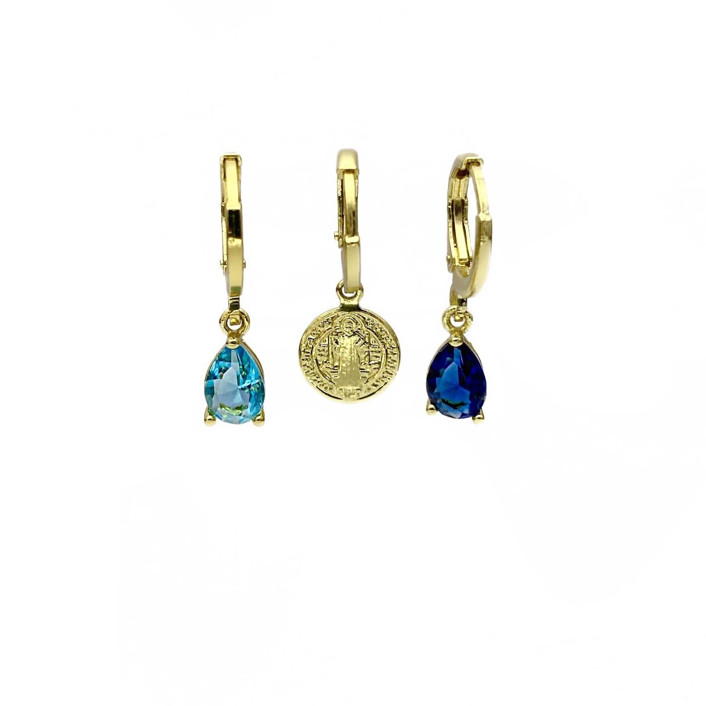 Dupla De Brincos Pedras + Brinco Medalha São Bento (Banho Ouro 18k)(3 Pares)