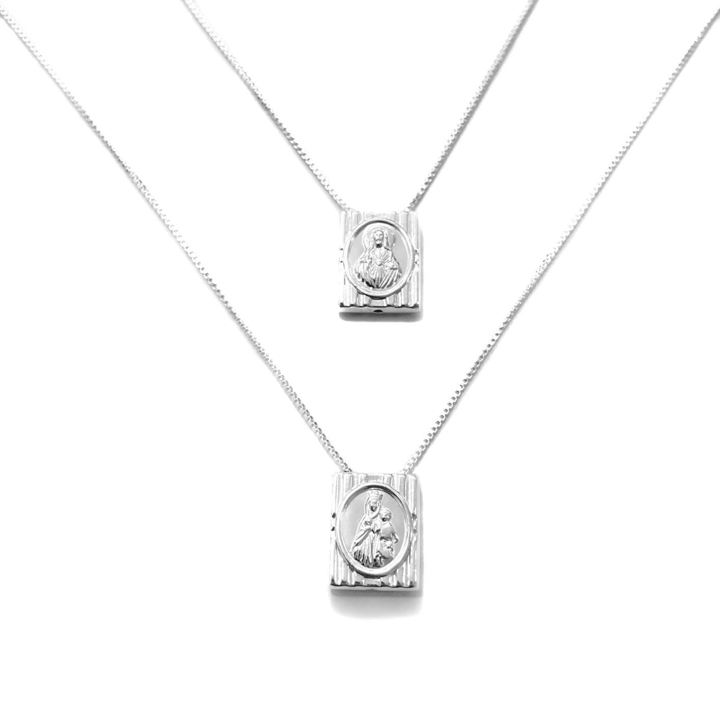 Escapulário Articulado Nossa Senhora Do Carmo 60cm Veneziana (Dupla Face)  (Prata 925 Italiana)
