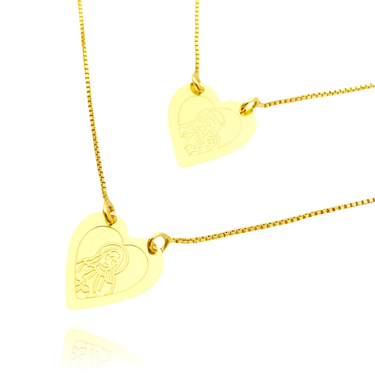 Escapulário Coração Sagrado Coração Gravado Laser 60cm (Banho Ouro 24k)