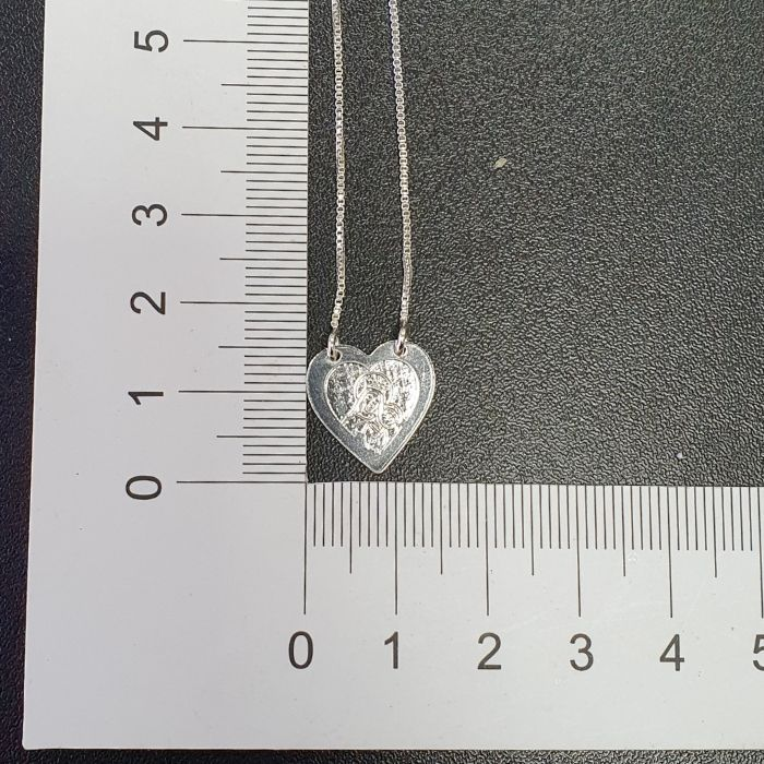 Escapulário Coração Sagrado Coração Gravado Laser 60cm (Banho Prata 925)