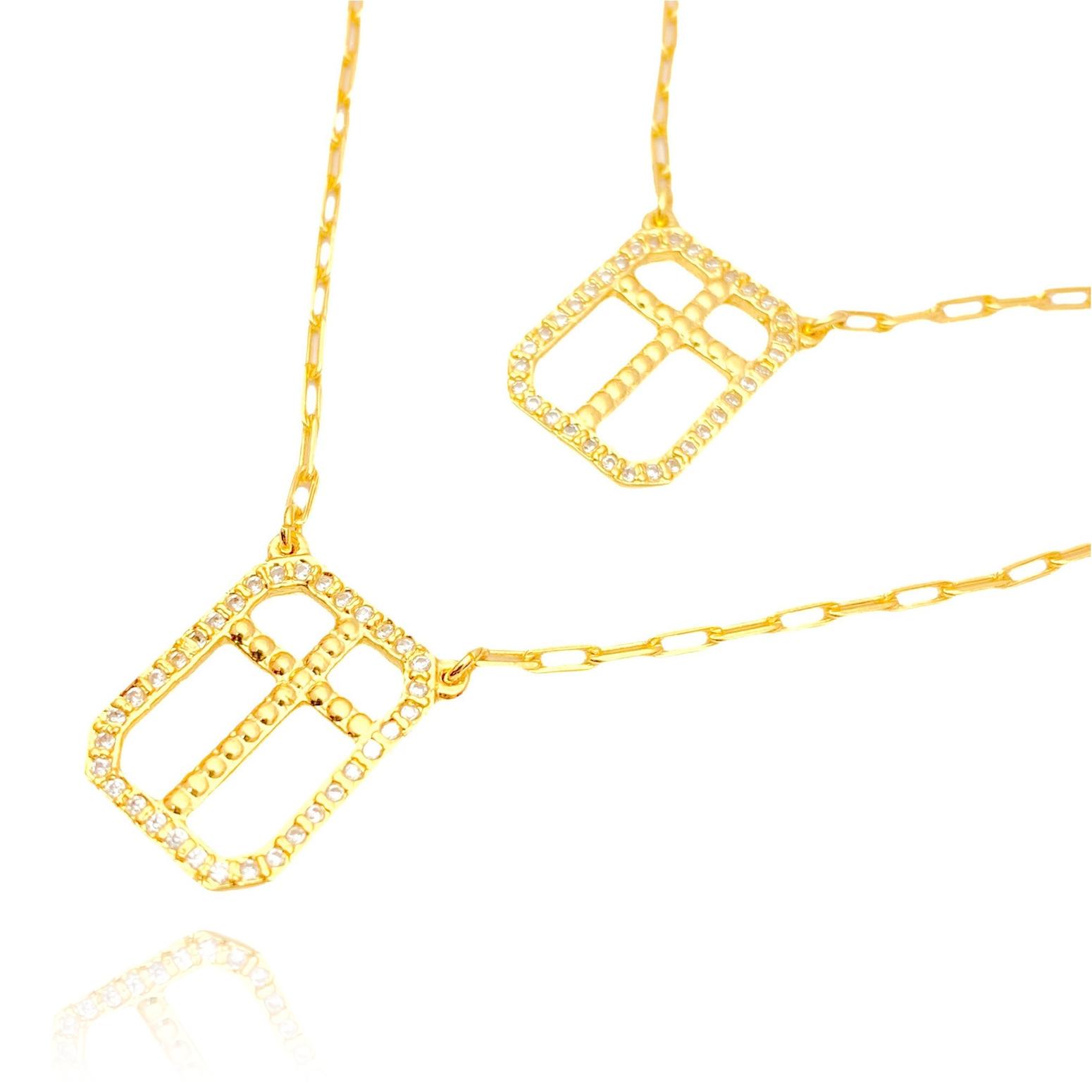 Escapulário Crucifixo Cravejado 60cm (9,1g) (Banho Ouro 24k)
