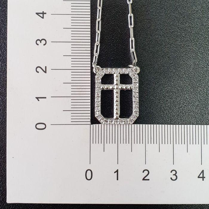 Escapulário Crucifixo Cravejado 60cm (Banho Prata 925)