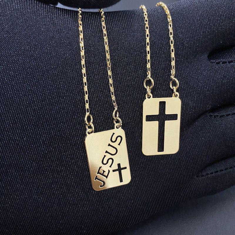 Escapulário Jesus e Cruz Vazada 60cm (Banho Ouro 24k)