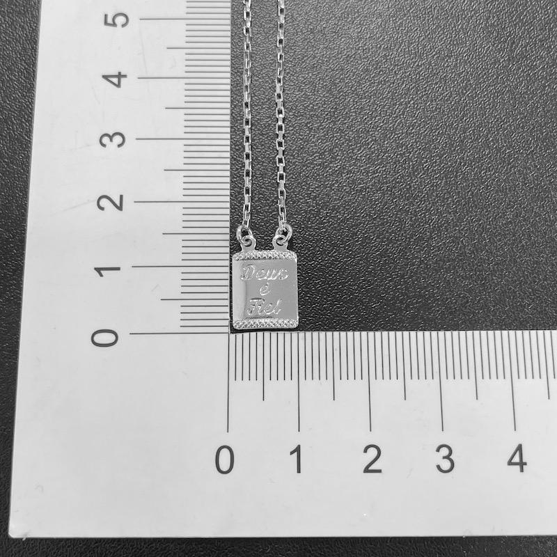 Escapulário Deus é Fiel Carrier Cubinho 70cm (Banho Prata 925)