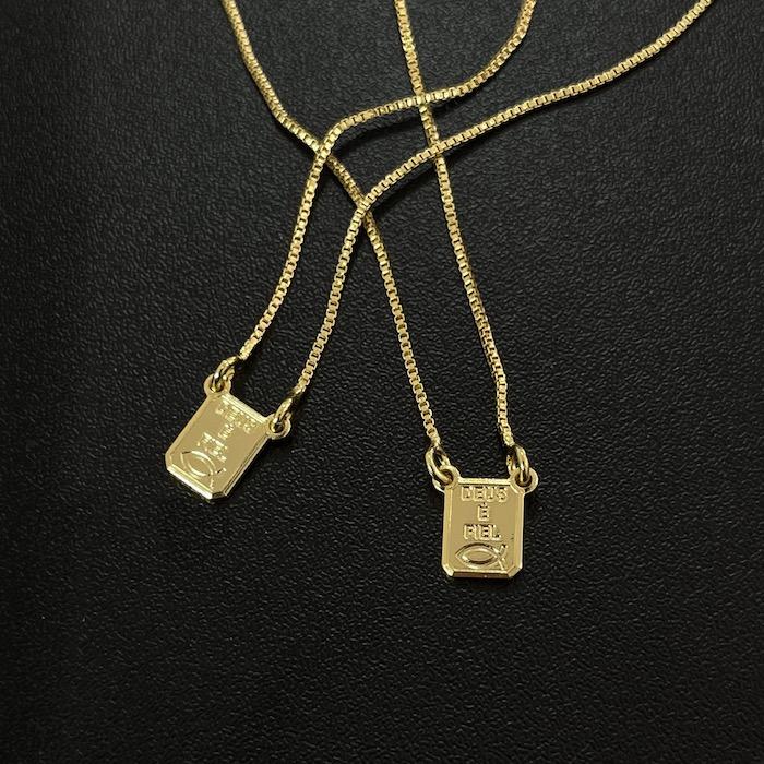 Escapulário Deus é Fiel com Pai Nosso Veneziana 70cm (Banho Ouro 24K)
