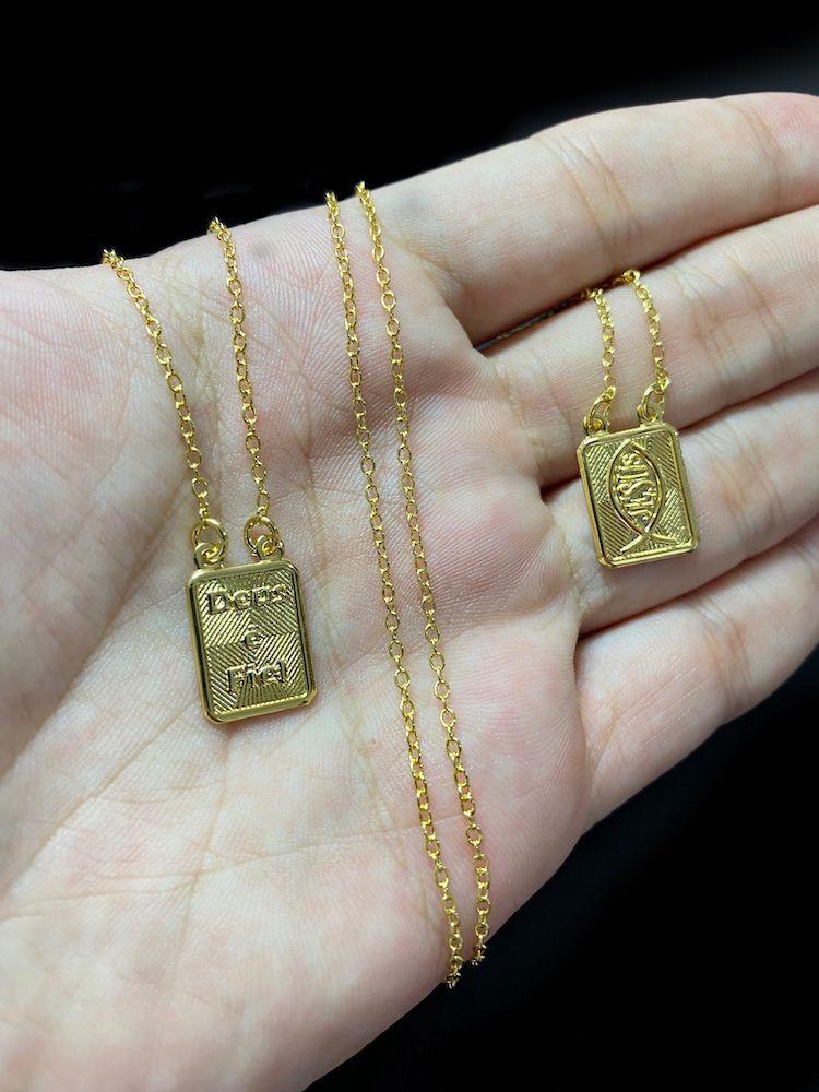 Escapulário Deus é Fiel e  Jesus 70cm Carrier Cadeado (Banho De Ouro)
