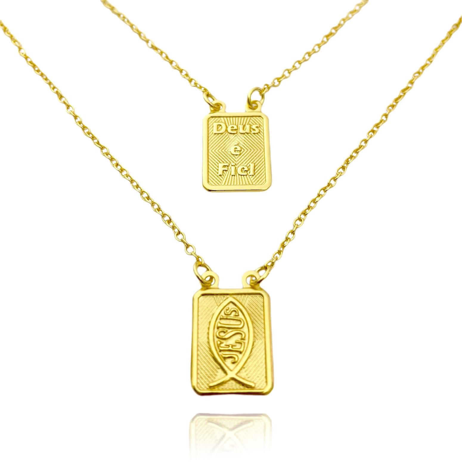 Escapulário Deus é Fiel e Jesus 70cm Elo Português (Banho Ouro 24k)