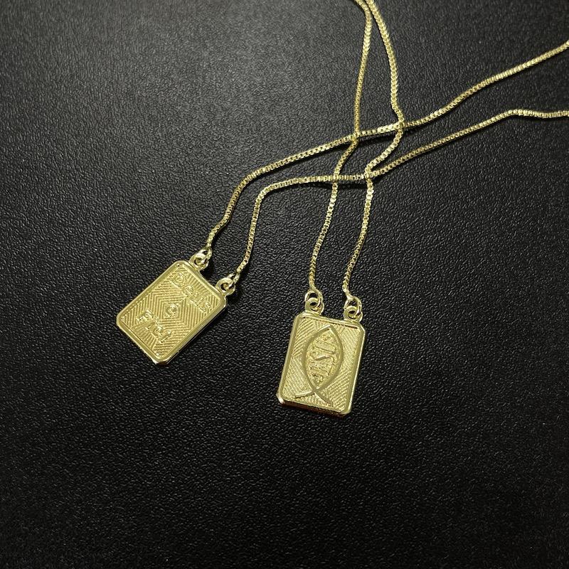 Escapulário Deus é Fiel e Jesus 70cm Veneziana (Banho Ouro 24k)