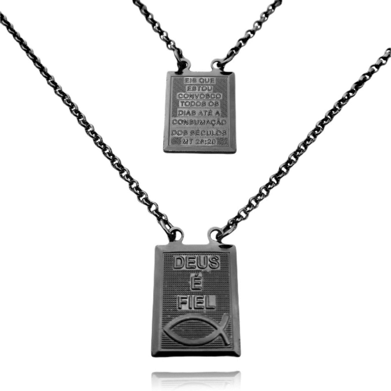 Escapulário Deus é Fiel e Versículo Mt 23:20 1mm 60cm Elo Português (9,5g) (Banho de Ônix)