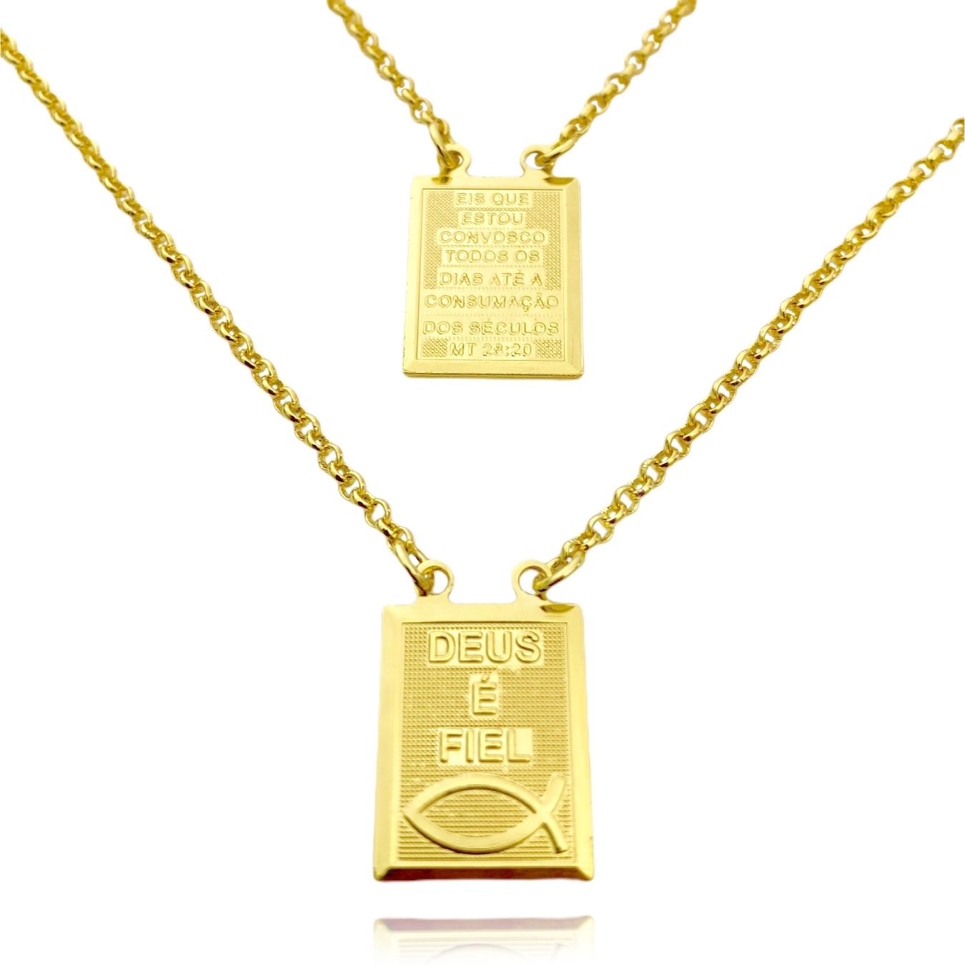 Escapulário Deus é Fiel e Versículo Mt 23:20 1mm 60cm (Elo Português) (Banho Ouro 24k)
