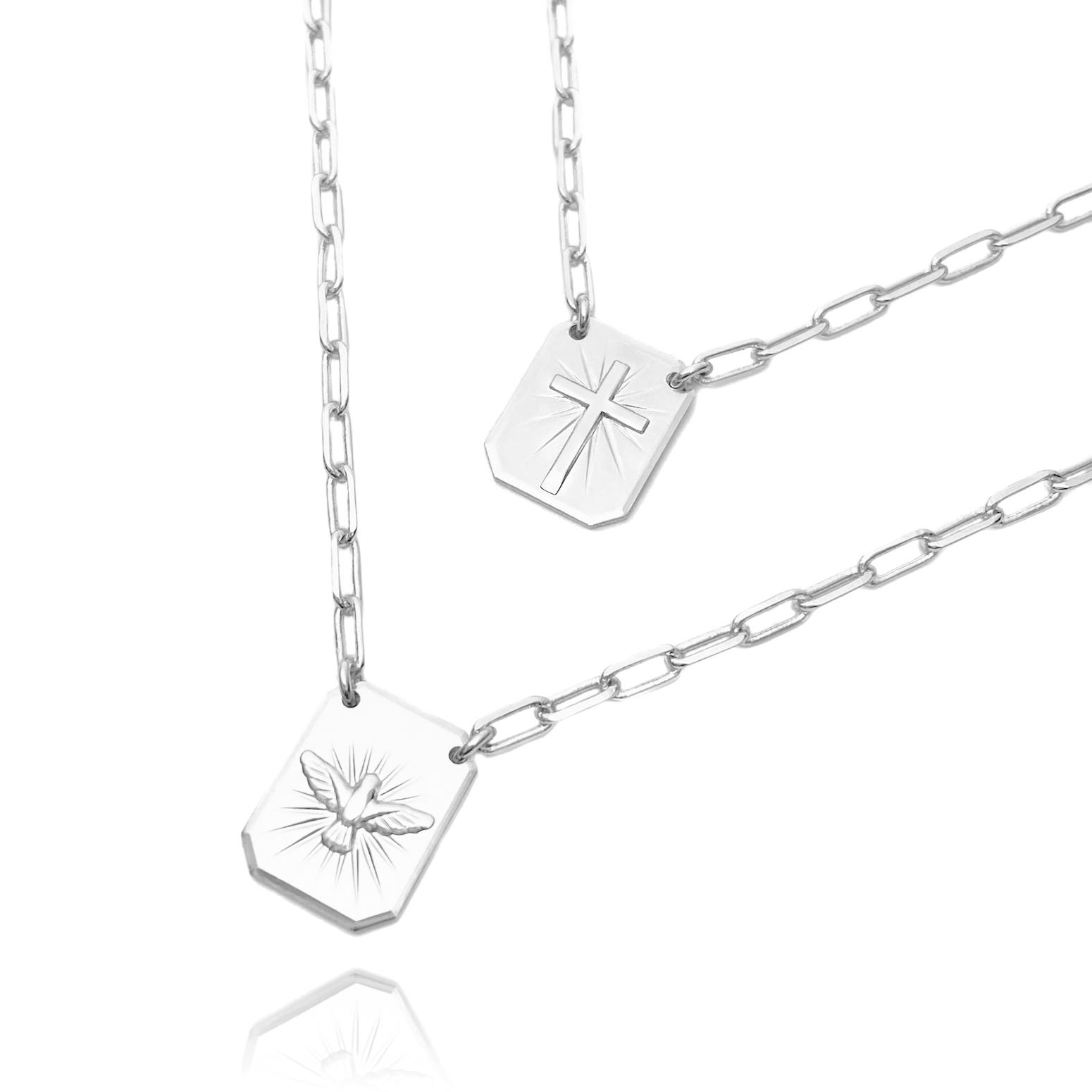 Escapulário Divino Espirito Santo + Cruz 70cm x 2,8mm Carrier Diamantada (10g) (Banho Prata 925)