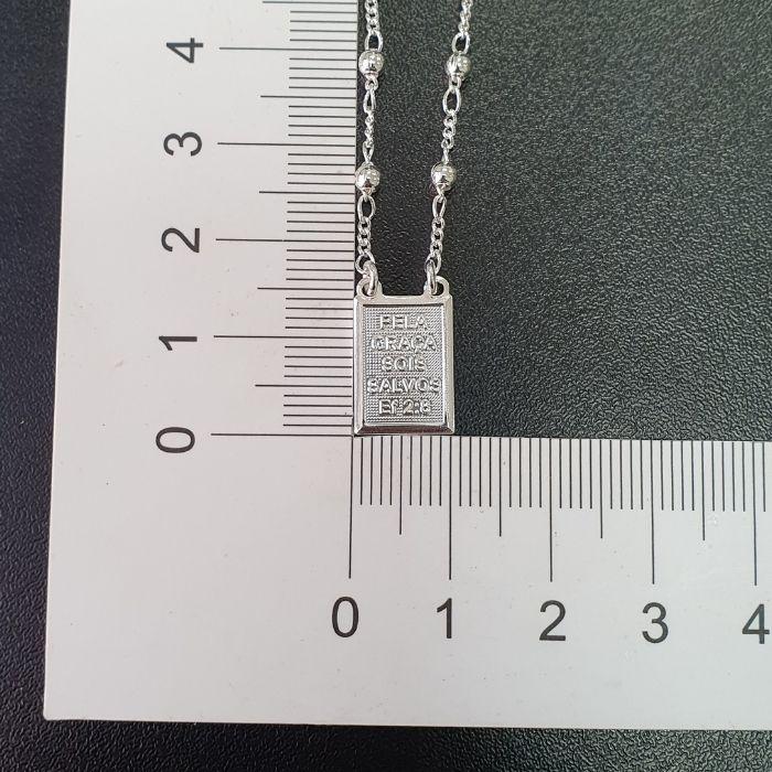 Escapulário Esferas NU 6:24 /Ef 2:8 60cm (Banho Prata 925)
