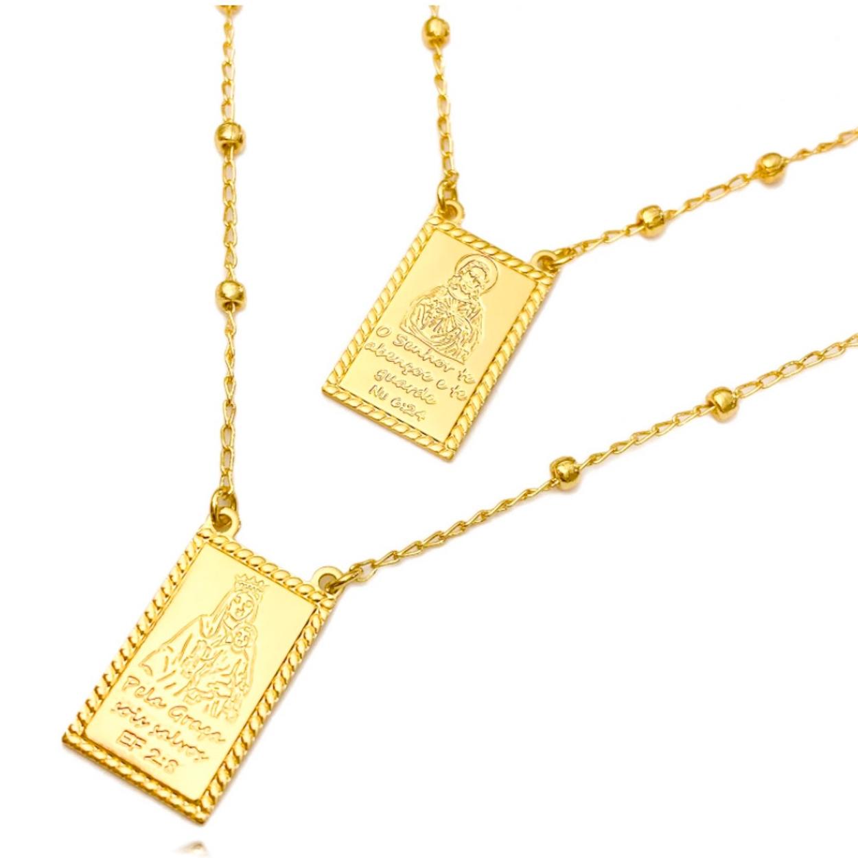 Escapulário Esferas Sagrado Coração NU 6:24/N.S.do Carmo EF 2:8 60cm (8,9g) (Banho Ouro 24k)