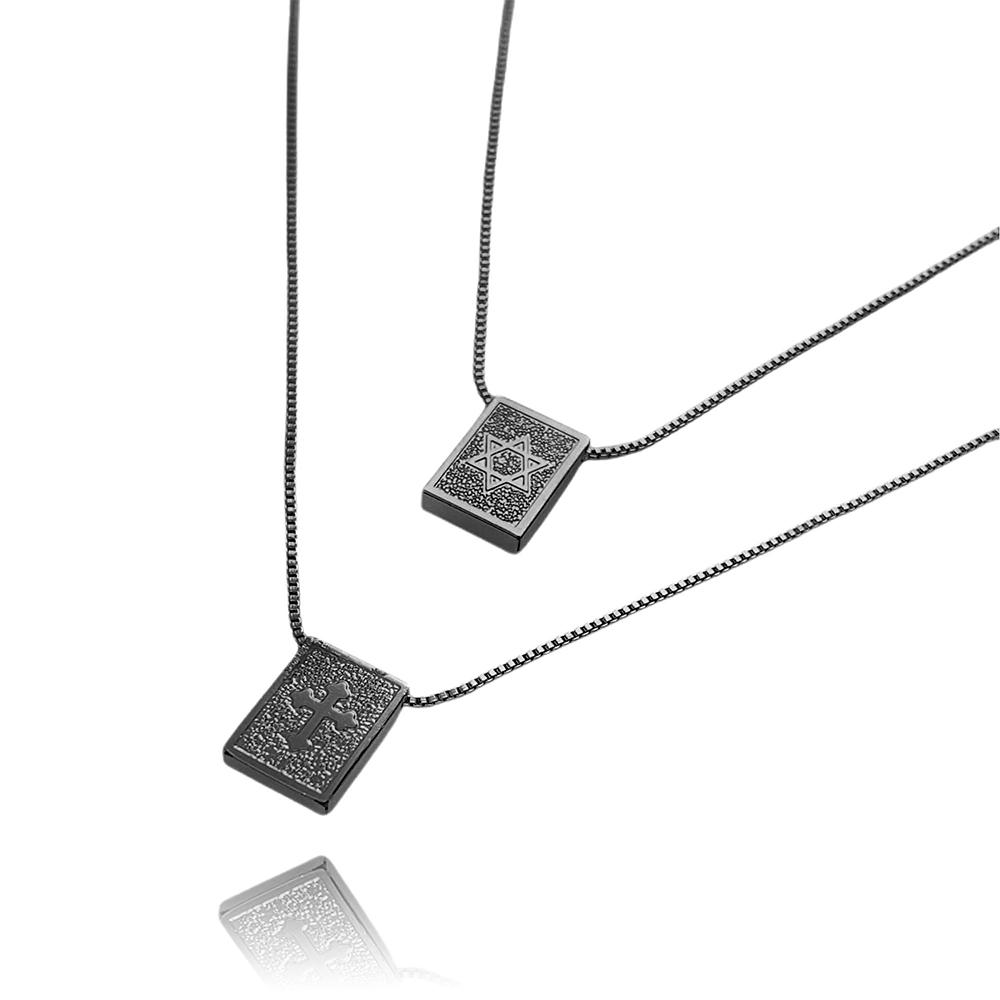 Escapulário Estrela de Davi e Cruz Texturizada Veneziana 60cm (Banho de Ônix)