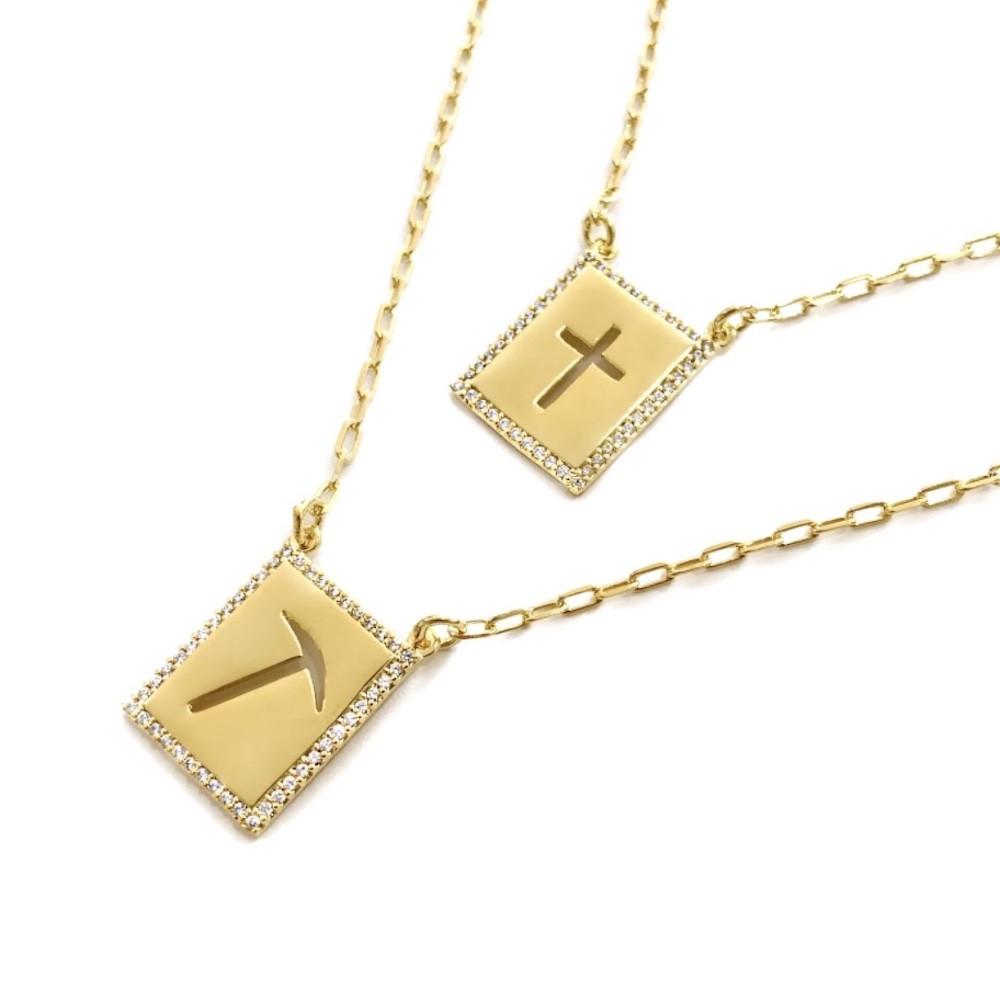 Escapulário Garimpo De Ouro e Cruz Vazada Cravejado em Zircônia 60cm Carrier Cadeado (Banho Ouro 24k)