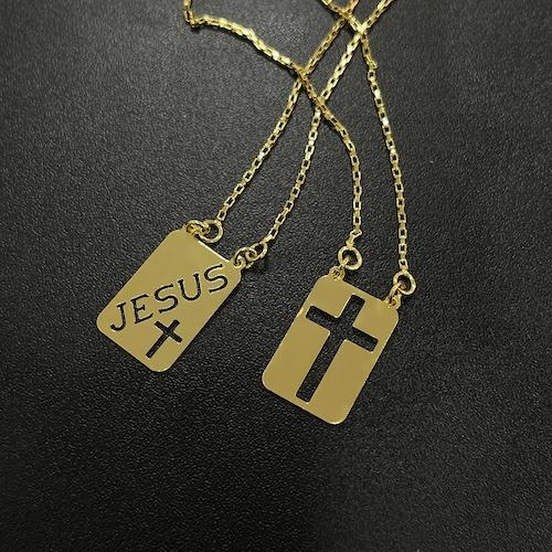 Escapulário Jesus e Cruz Vazada 60cm Carrier Cubinho (Banho Ouro 24k)
