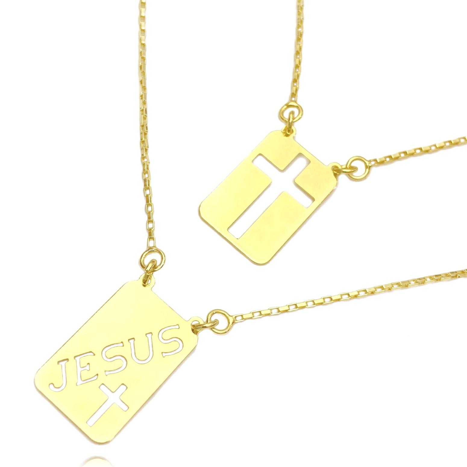 Escapulário Jesus e Cruz Vazada 60cm Veneziana (Banho Ouro 24k)