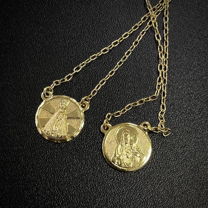 """Escapulário N.S Aparecida e """"O Senhor te Abençoe e te Guarde"""" Carrier Cadeado 70cm (Banho Ouro 24k)"""