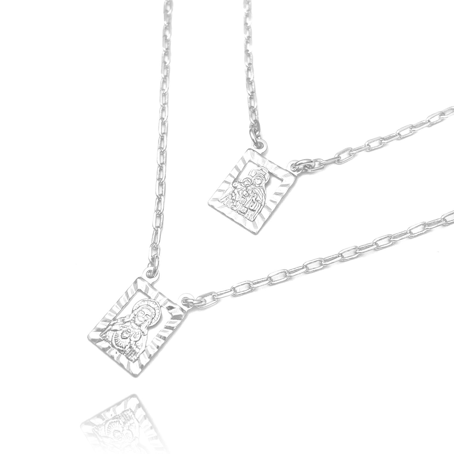 Escapulário N.S. Do Carmo e Sagrado C. Jesus Vazado 2mm x 70cm Carrier Diamantada (Banho de Prata 925)