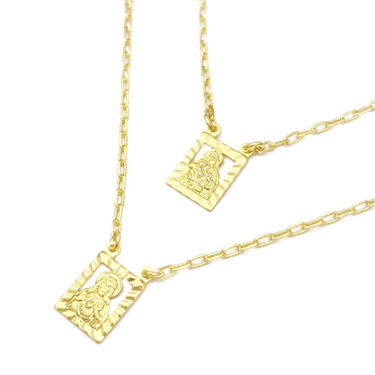 Escapulário N.S. Do Carmo e Sagrado C. Jesus Vazado 2mm x 70cm Carrier Diamantada (Banho Ouro 24K)