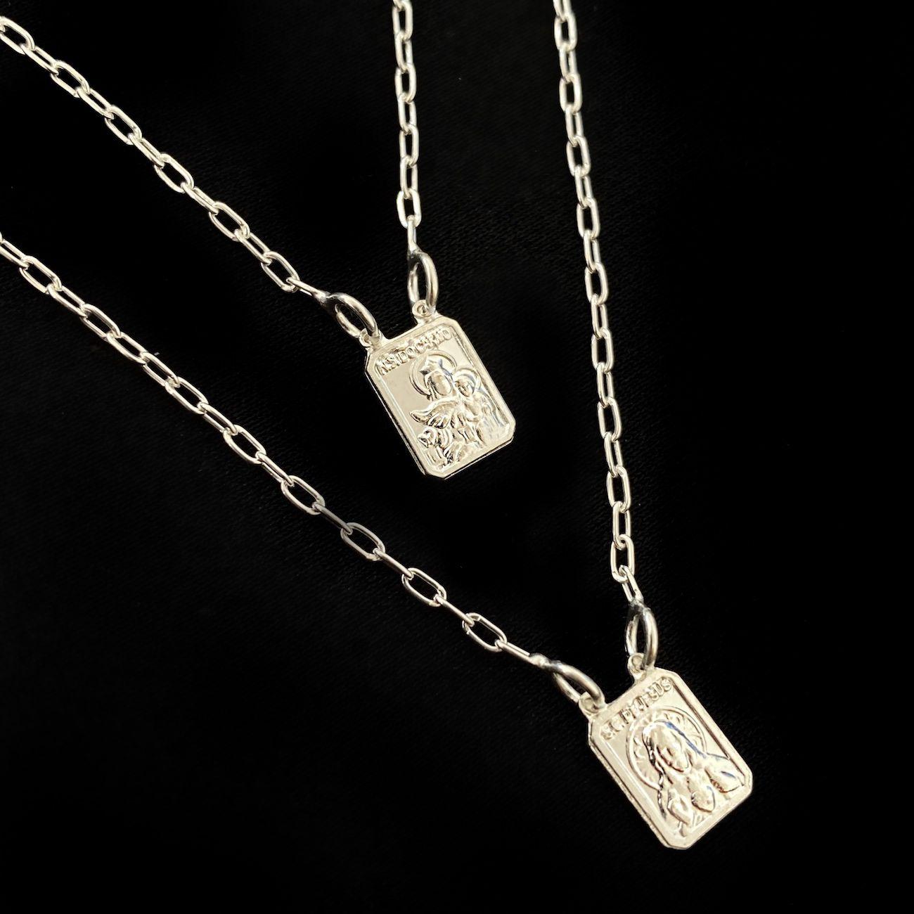 Escapulário Nossa Senhora Do Carmo e Sagrado Coração Mini 70cm (Prata 925 Italiana)