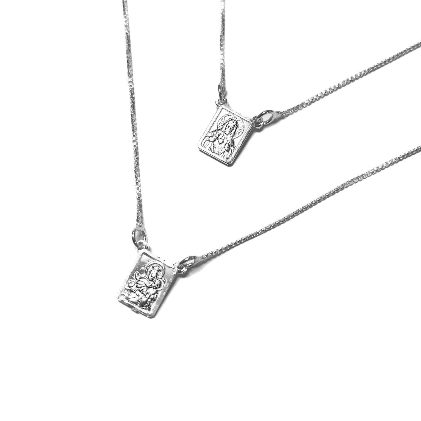 Escapulário Nossa Senhora Do Carmo e Sagrado Coração Mini 60cm (Prata 925 Italiana)