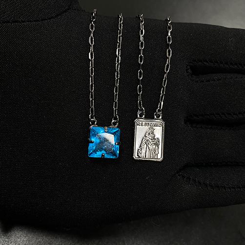 Escapulário Pedra Carre Aquamarine + Sagrado Coração 70cm Carrier Diamantada (6,5g) (Banho de Ônix)