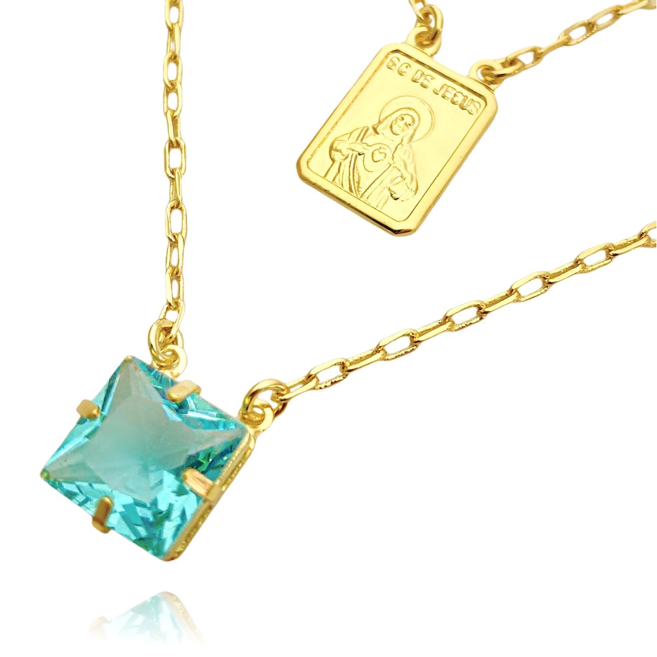 Escapulário Pedra Carre Verde Água + Sagrado Coração 70cm Carrier Cadeado (Banho Ouro 24k)