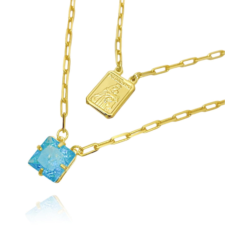Escapulário Pedra Carre Aquamarine + Sagrado Coração 70cm Carrier Diamantada (6,5g) (Banho Ouro 24k)