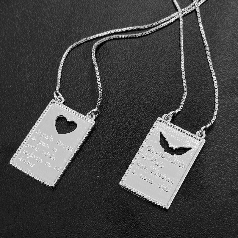 Escapulário Placa Sagrado Coração Vazado 60cm (Banho Prata 925)