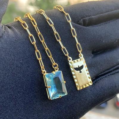 Escapulário Retangulo Espírito Santo Pedra Azul Claro Carrier Diamantada 3mm 70cm 10g (Banho Ouro 24k)