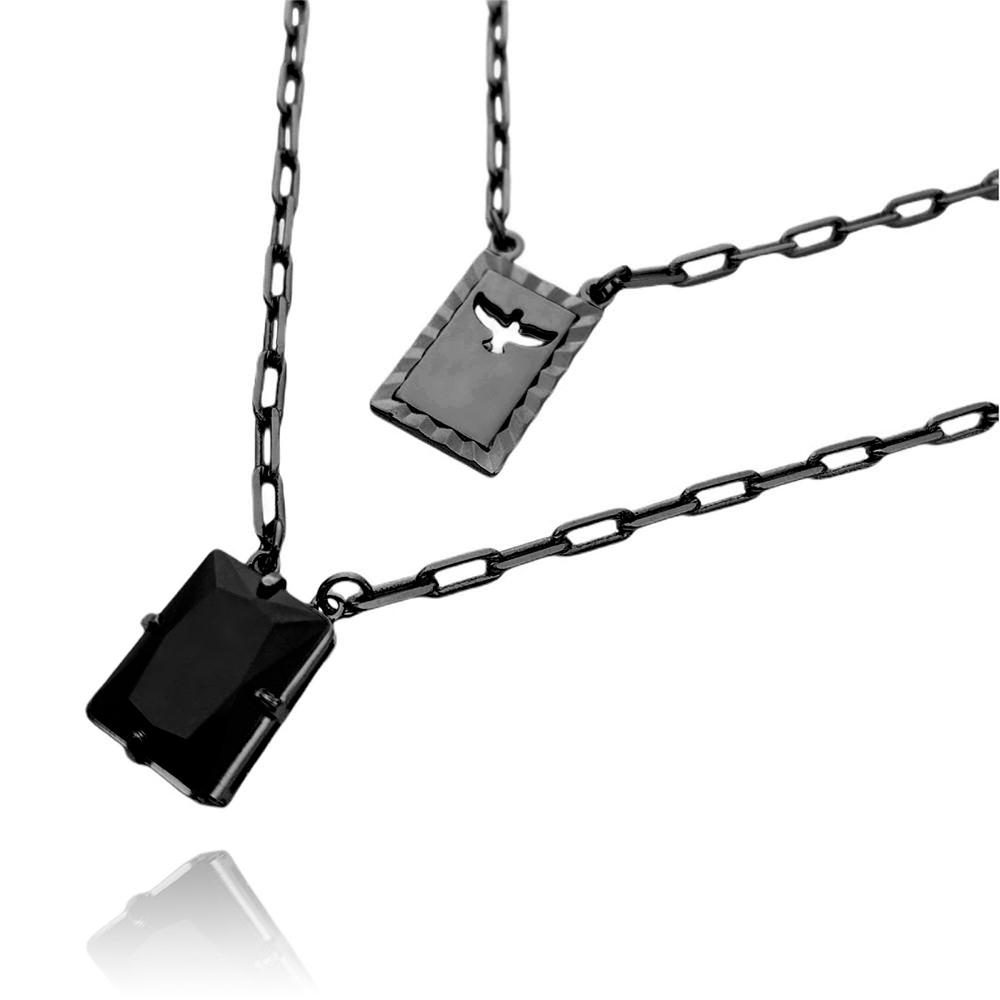 Escapulário Retangulo Espírito Santo Pedra Preta Carrier Diamantada 3mm 70cm (12,6g) (Banho de Ônix)