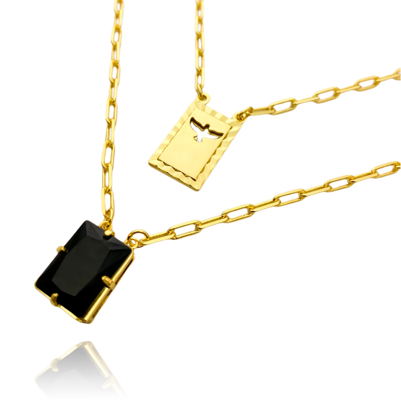 Escapulário Retangulo Espírito Santo Pedra Preta Carrier Diamantada 3mm 70cm (12,6g) (Banho Ouro 24k)